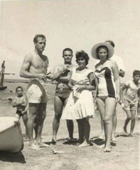 Paul Newman on Famagusta beach (whilst filming Exodus) with my friend Avril Fielding