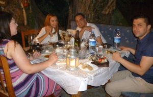 Sezgin with husband and friends