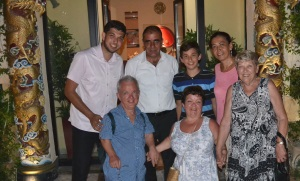 Back l-r the Kanbur family - Utku, Huseyin, Toyan and Ilknur Front l-r Fred, Pat and Margaret