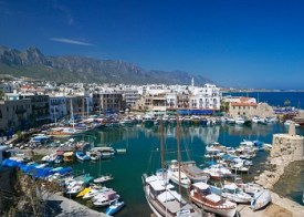 Girne or Kyrenia harbour and the Besparmak Mountains, North Cyprus