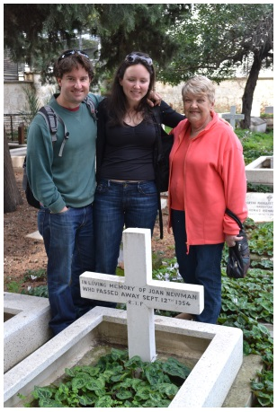 Lara and Richard at the grave of her grandmother