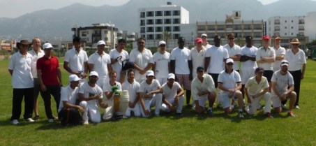 Teams lineup for the first Pia Bella cricket match