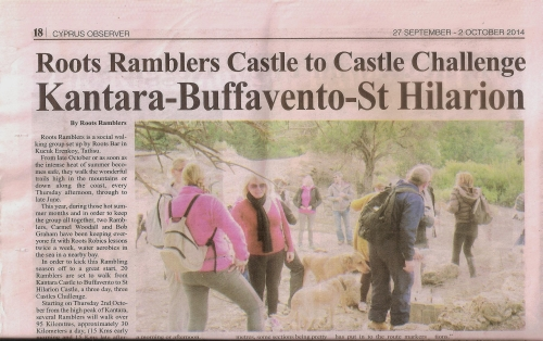 Roots Ramblers article published in the new look Cyprus Observer
