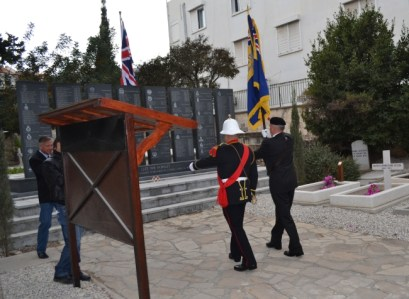 Remembrance Day 2011 - Bugler and Standard bearer march with the standard