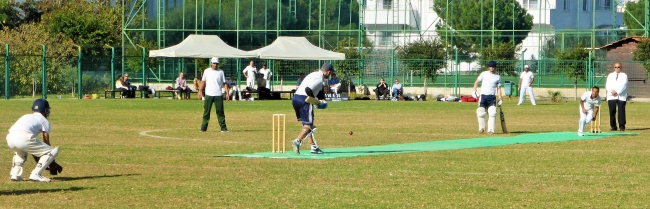 Action from yesterday's cricket match. TRNC are bowling