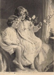 Birthday cards were printed in black and white at this period. Its dated April 1908