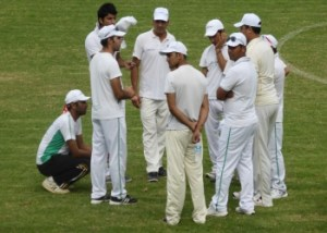 Captain Danish Afridi talking to the players of the Girne Cricket Club image