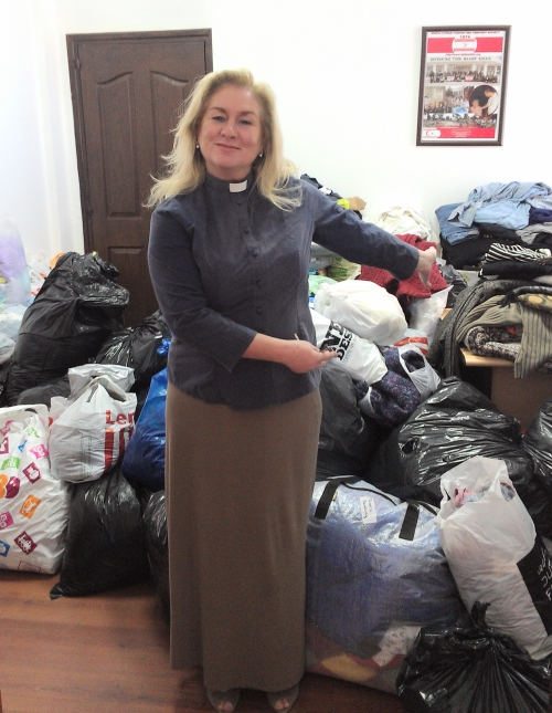 Rev Wendy Hough with donations