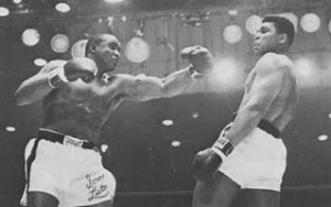 Clay (Ali) wades out of trouble as Liston tries to catch him