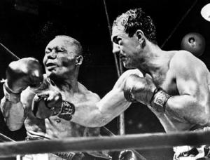 Marciano lands a heavy punch on Walcott