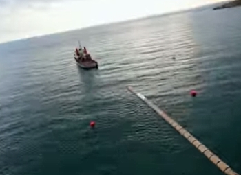 Towing pipes towards Cyprus