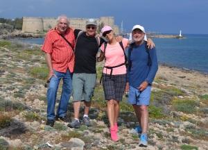 Chris, Joel, Liz, Michael - backdrop Kyrenia Castle