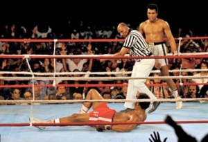 Foreman counted out in the ''rumble in the jungle'' in Zaire. 1974
