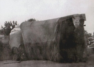 overturned lorry in which Bob was almost killed