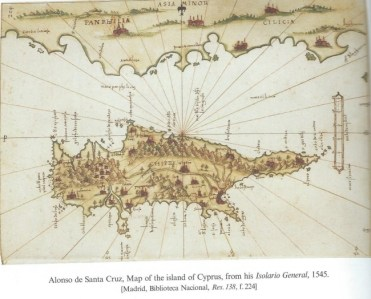 Map drawn by ''Alonzo de Santa Cruz, 1545''