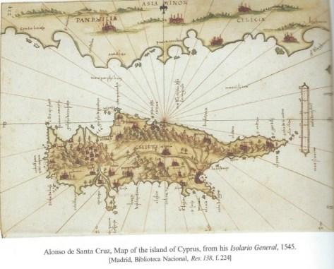 Map drawn by ''Alonzo de Santa Cruz, 1545''