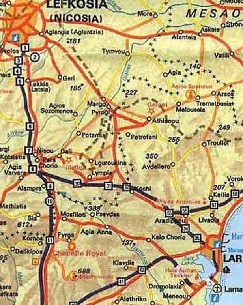 Map showing the locations of Melusha, Lurucina and Melousha