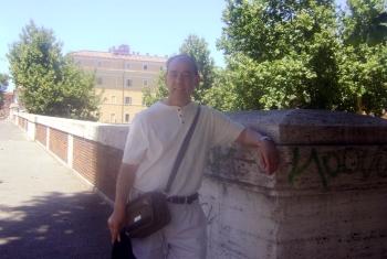 The modern Sublicius bridge on the river Tiber in Rome