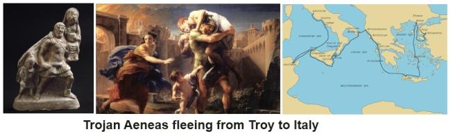 Trojan Aeneas flees Troy to Italy