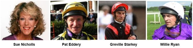 Sue Nicholls and the 3 jockeys