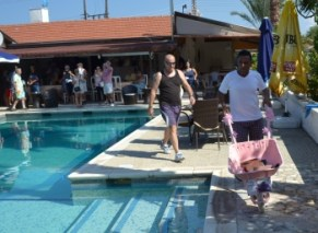Arriving at the Tropicana poolside