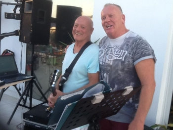 Barry Snakes and Lee Hickens at JK's Bar, Lapta Funday Saturday Event