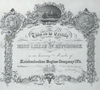 Lillie Hitchcock Coit certificate as an honorary member of San Francisco Fire Engine Company