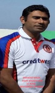 Shahzad Malik, 4 wickets for 21 runs for Gentlemen of Girne