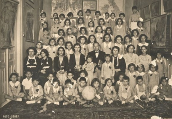 Year 1938 we think. My mother Gülten top row 2nd from left. Auntıe Ayten top row 3rd from right. Necmi Sagıp Bodamyalızade centre of photo. Mehmet Savaronas mother Hatice to his left obviously she was a teacher at the Shakespeare School.