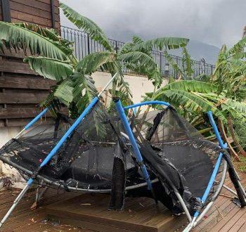 Damaged trampoline