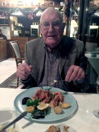 Richard enjoying his Garlic Prawns