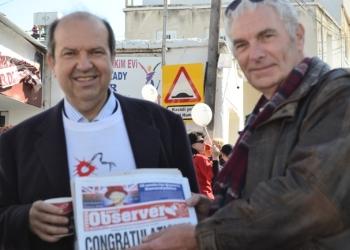Minister of Finance Ersin Tatar and Cyprus Observer deputy editor, Chris Elliott image
