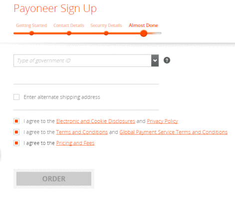 pics of Payoneer signup page for beginners