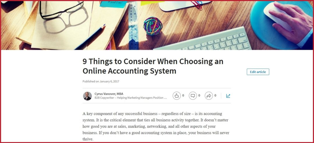 LinkedIn -- 9 Things to Consider When Choosing an Online Accounting System