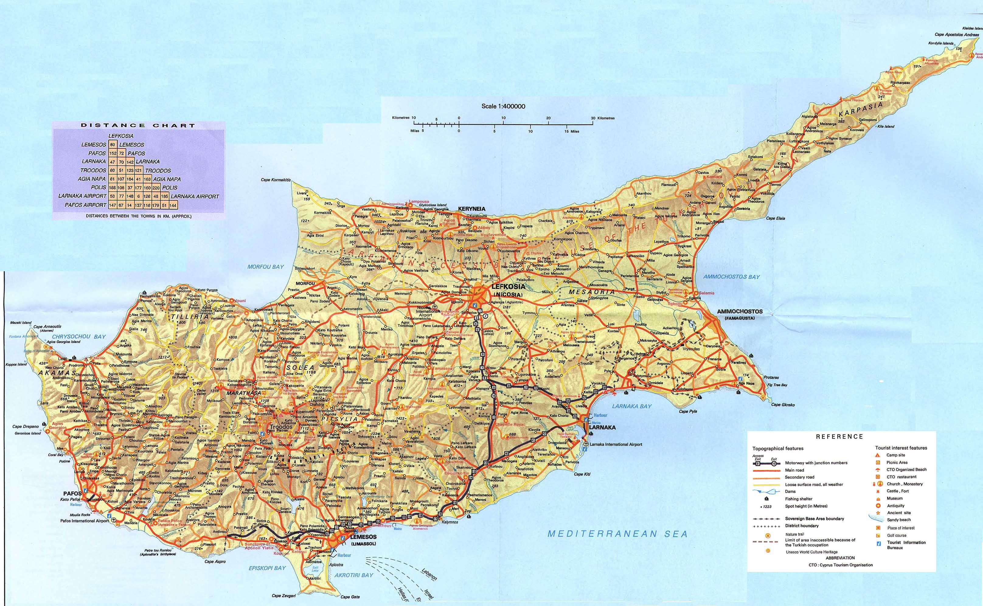 Kartta Kypros Larnakan Ja Famagustan Suomi Koulu Kypros