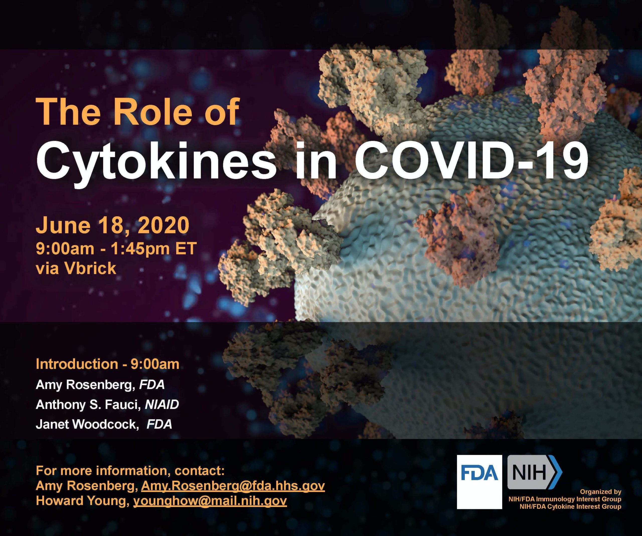 The Role of Cytokines in COVID-19 – June 18th, 2020 9am-1.45pm Eastern – Virtual FREE Meeting