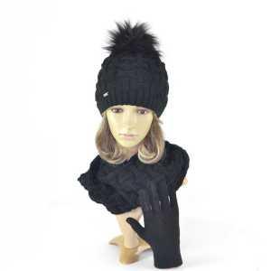 komplet-czapka-pompon-czarny