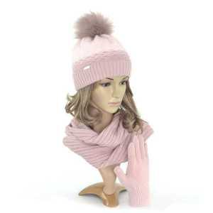 czapka-komin-rękawiczki-pudrowy roz