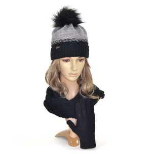 czapka-komin-rękawiczki-czarny-szary