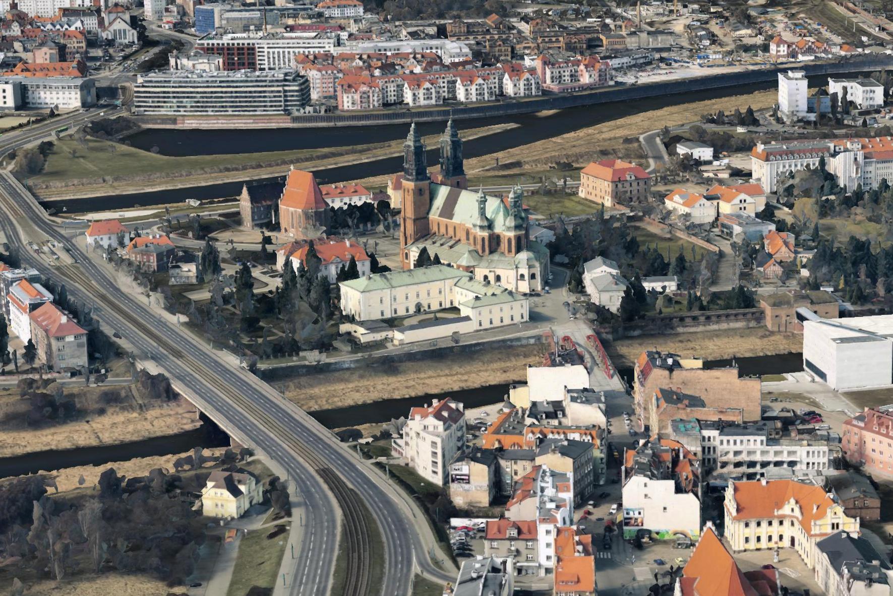 Śródka (na dole), Most Jordana, Ostrów Tumski, po lewej Trasa Solna. W tle Warta. Trójwymiarowy model Poznania, 2015. Źródło: Google Earth