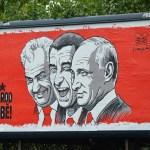 Milos Zeman, Andrej Babis Vladimir Putin graffiti