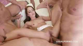 Big butt babe Nomi Melone gets a facial cumshot after double anal gangbang