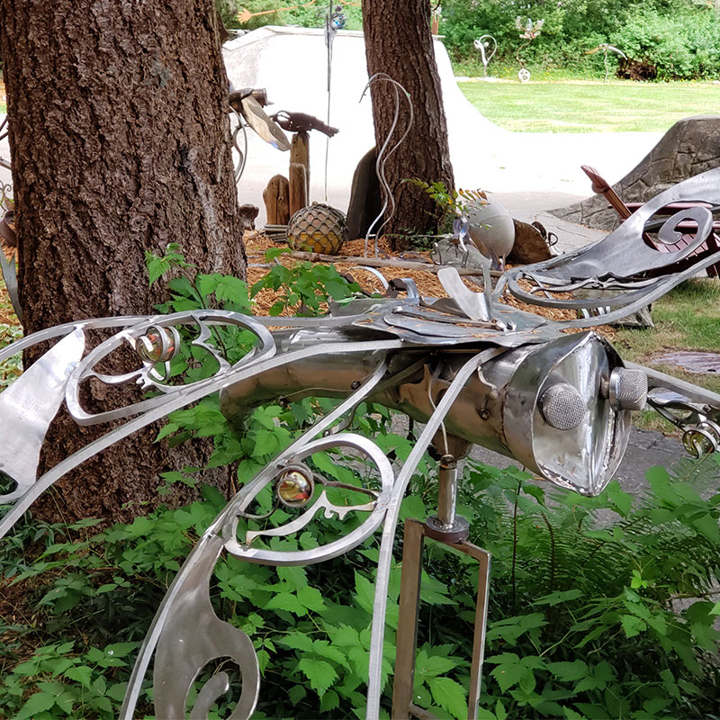 Unique patina and stainless metal and concrete sculptures by John Czegledi Inventor and Designer Courtenay BC
