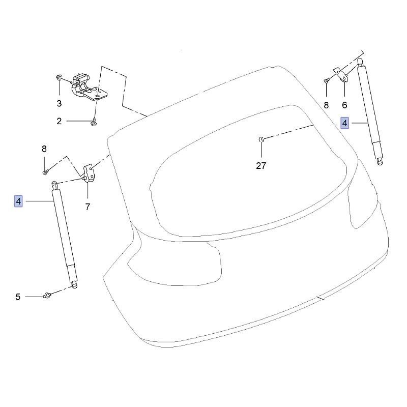 Amortyzator manualnej klapy tylnej 13247949 (Insignia