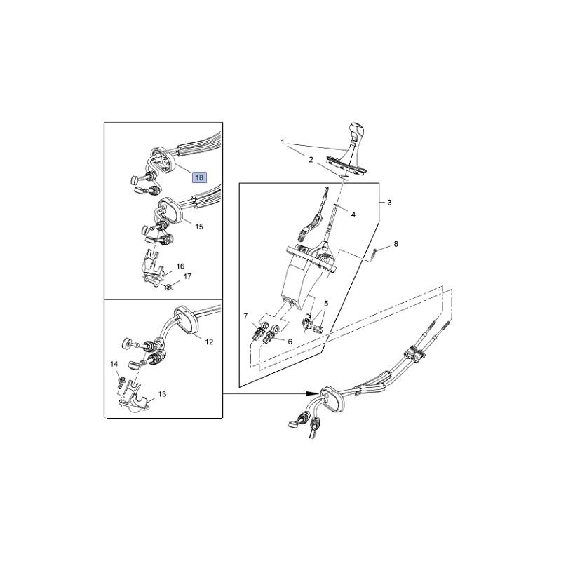 Linka zmiany biegów skrzynia manualna F40 55596497 (Zafira