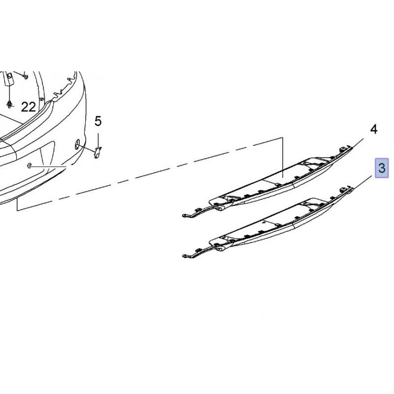 Listwa, dolna wkładka tylnego zderzaka 13269456 (Insignia