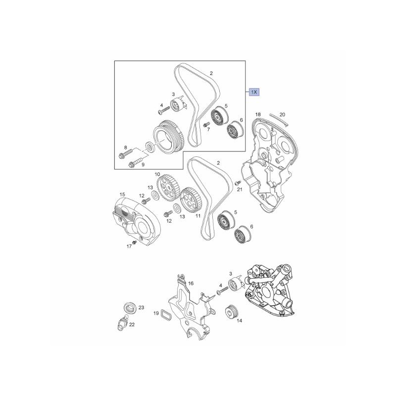 Zestaw naprawczy rozrządu 1.4, 1.6, 1.8L 95518060 (Astra G