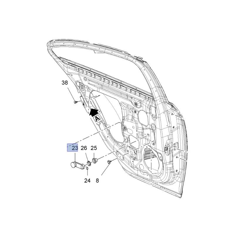 Korbka szyby manualnej drzwi tylnych 13288656 (Insignia A