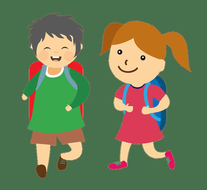 Crtež djevojčice i dječaka sa školskim torbama na leđima