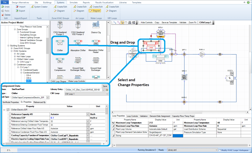 medium resolution of then the user can utilize the diagramming canvas features to connect the component shape into the zone hvac group or loop diagram